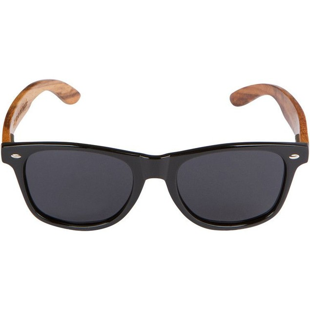 Black Sunglasses With Faux Wood Grain Arms Wooden Fashion Bamboo Print
