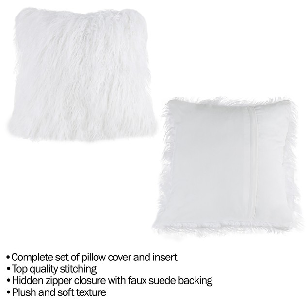 """18"""" Plush Pillow – Luxury Square Accent Pillow Insert and Shag Glam Cover Set – For Bedroom or Living Room by Lavish Home (White)"""
