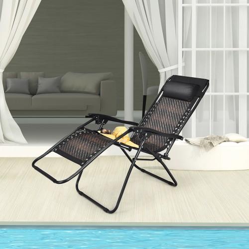 Costway Patio Rattan Zero Gravity Lounge Chair Chaise Folding Recliner W/He