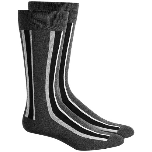Alfani Men's Vertical Stripe Socks Black Size Regular