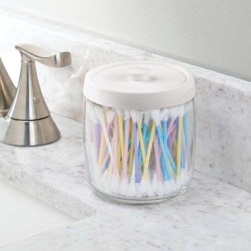 mDesign Glass Vanity Storage Organizer Apothecary Jar