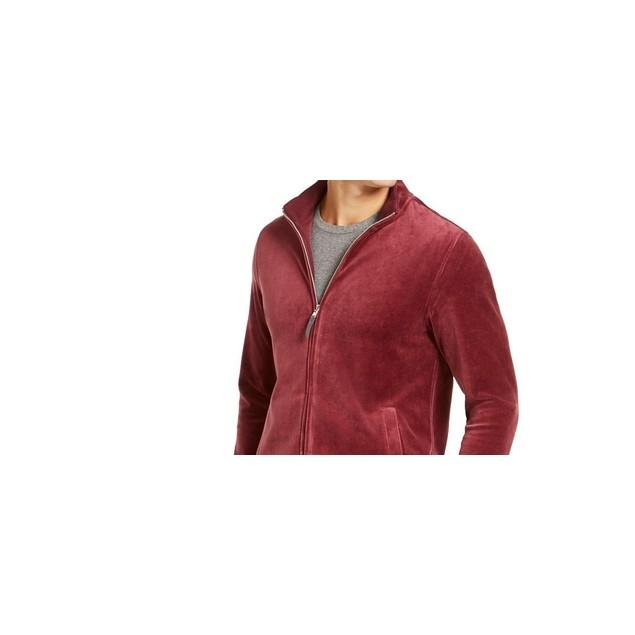 Tasso Elba Men's Velour Track Jacket Red Size Small