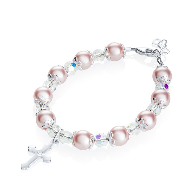 Silver Baptism Bracelet for Girls - With Cross, Pearls and Crystals