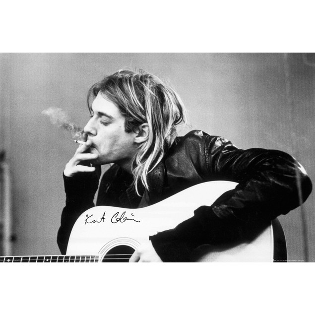 Kurt Cobain Smoking Poster 36 x 24 Nirvana Rock Music Dave Grohl