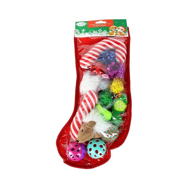 Midlee Christmas Stocking Cat Toy Gift Set (14 Toys)