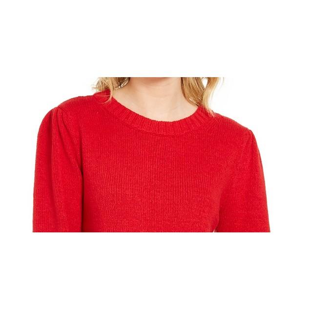 Style & Co Women's Puffy Sleeve Sweater Dark Red Size Medium