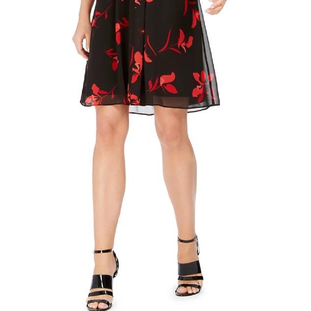 Calvin Klein Women's Petite Floral-Print Pleated Chiffon Dress Red Size 0