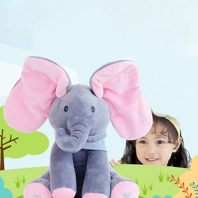 Elephant Baby Soft Plush Toy Singing Stuffed Animated Animal Kid Doll