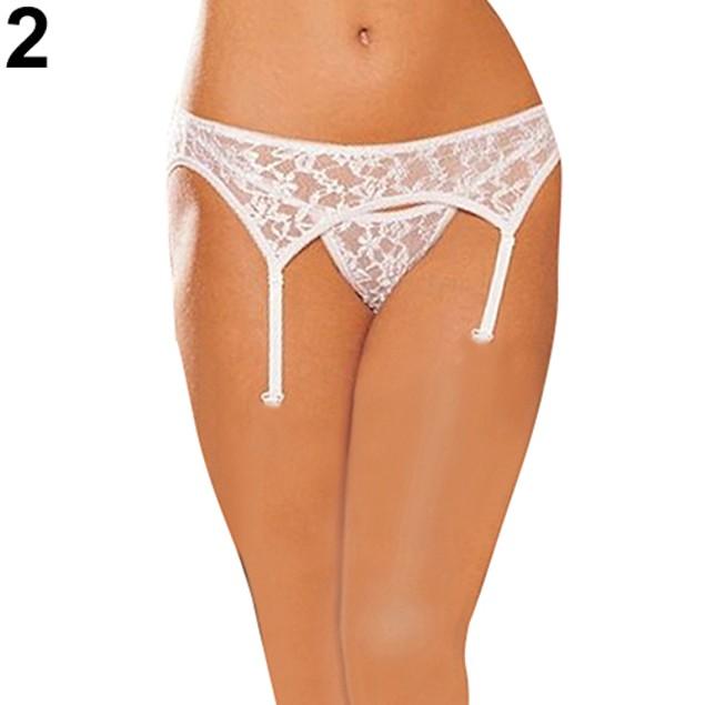 Women Sheer Top Thigh-Highs Garter Belt High Elastic Panties Suspender Set