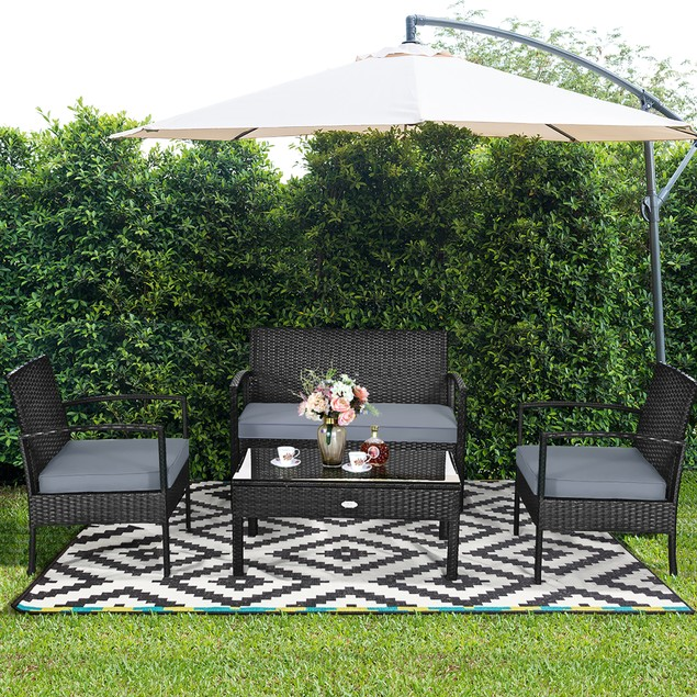 Costway 8PCS Patio Rattan Furniture Set Garden Deck