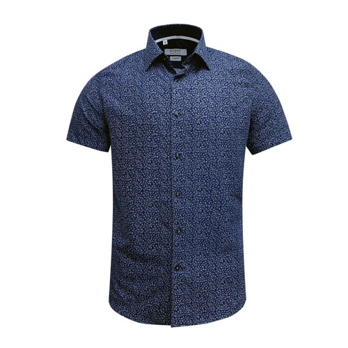 Monza Modern Fit Short Sleeve Navy Marble Floral Dress Shirt