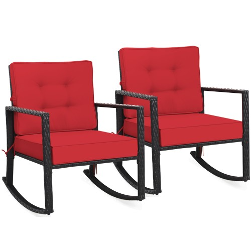 Costway 2PCS Patio Rattan Rocker Chair Outdoor Glider Rocking Chair Cushion