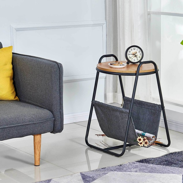 Monster Living Querencia Modern Round Side Table with Fabric Storage and Curvy Frame for Living Room - Acacia