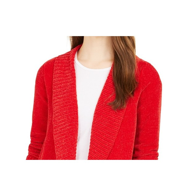 Style & Co Women's Knit Chenille Shawl Collar Cardigan Red Size Large