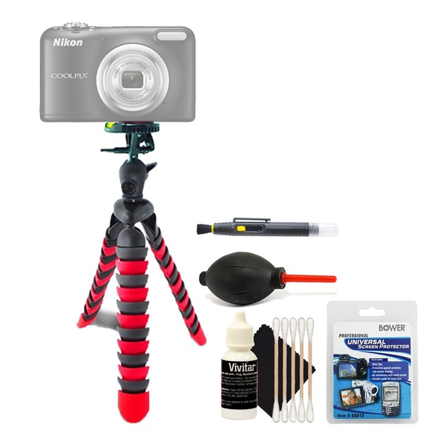 Flexible Tripod + Screen Protector + Lens Cleaner + Dust Blower + 3pc Cleaning Kit
