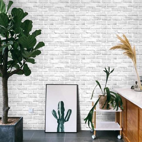 White Gray Brick Wallpaper 17.7''x19.7ft