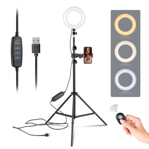 6-inch Ring Light Mountain Clip, One-Word Clip 2m Light Stand Bluetooth Set