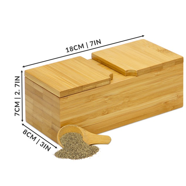 Bamboo Spice Salt and Pepper Box (with 2 spoons)   MandW