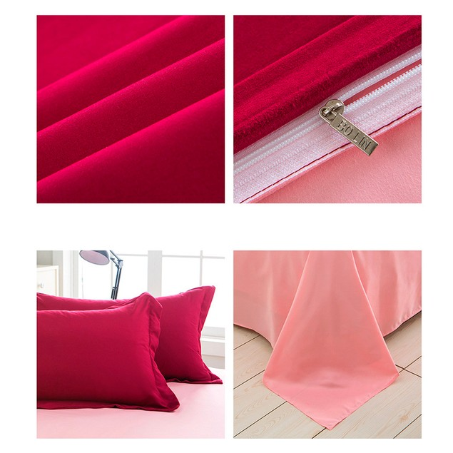 Red wine Sheet Bedding Solid Colors Single Twin Full Queen Double King