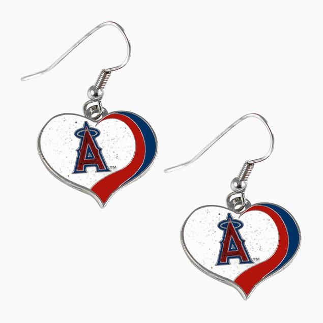 Los Angeles Angels MLB Glitter Heart Earring Swirl Charm Set