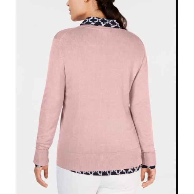 Charter Club Women's Long Sleeve Button Front Cardigan Pink Size Large