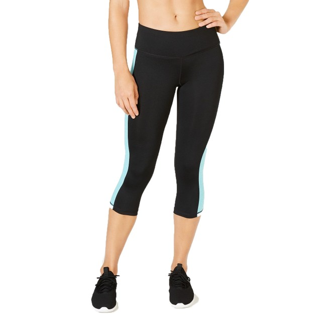 Ideology Women's Colorblocked Cropped Leggings Crystal Mist Size Small