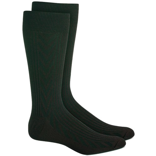 Perry Ellis Men's Textured Chevron Socks Gray Size Regular