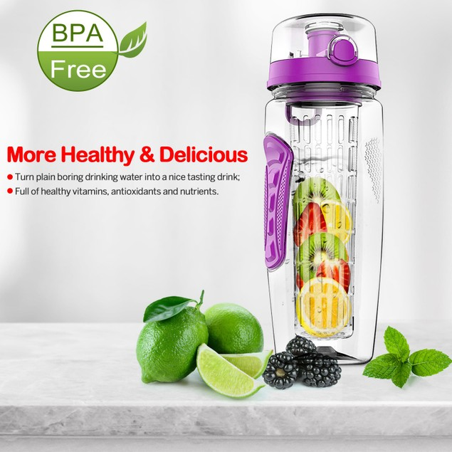 Fruit Infuser Water Bottle 32OZ Juice Shaker Sport w/ Flip Top Lid