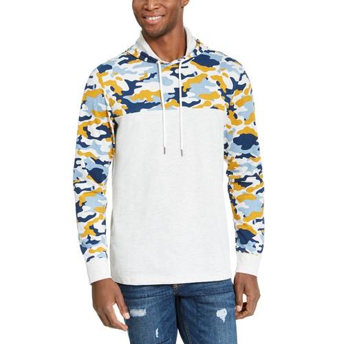 American Rag Men's Camo Blocked Hoodie Gray Size Medium