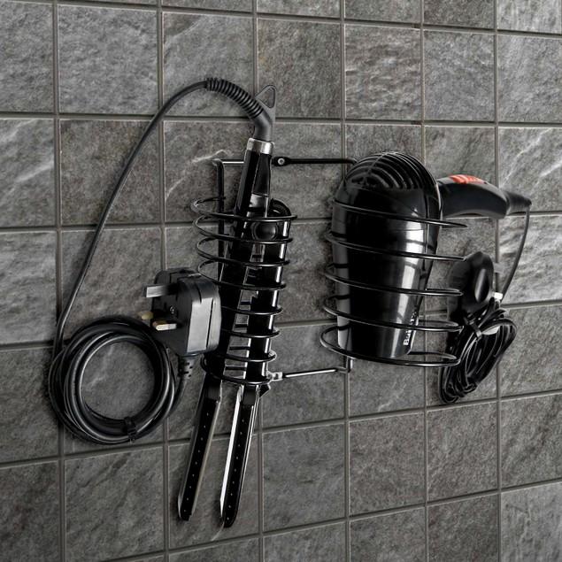 Hair Dryer and Straightener Holder   Pukkr Black