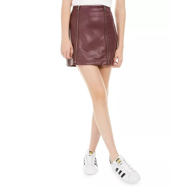 Love Fire Juniors' Faux-Leather Zipper Mini Skirt Dark Red Size X-Large