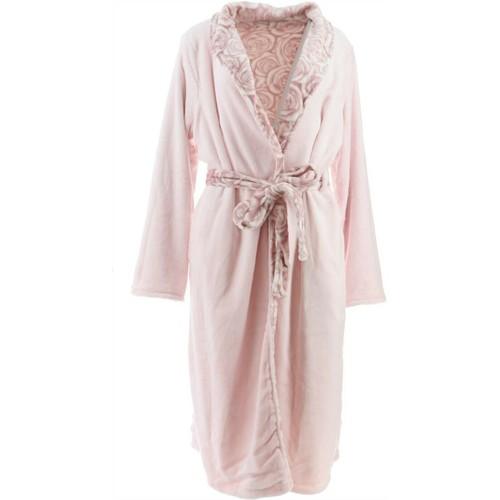 Casa Zeta-Jones Reversible Velvet Soft Rose Robe, Medium, Ashes of Roses