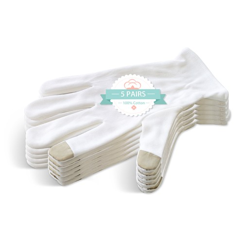 5-Pair 100% Cotton Touchscreen Moisturizing Beauty Gloves with Elastic Cuff