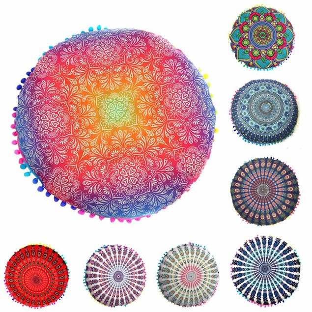 Indian Mandala Floor Round Bohemian Cushion Pillows Cover Case Cushions