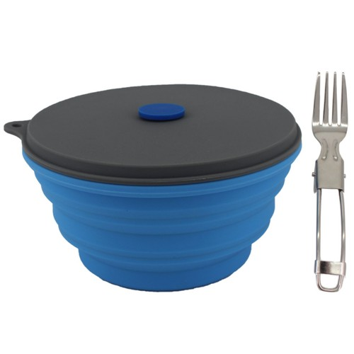 Mr. Peanut's 30oz Collapsible Silicone Camping Bowl with Lid & Foldable For