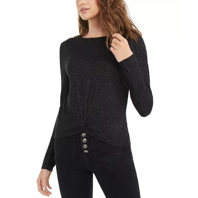 Planet Gold Junior's Twist Front Sparkly Ribbed Top Black Size Medium
