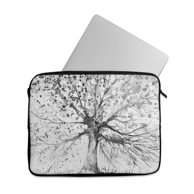 "EmbraceCase 15.6"" Ink-Fuzed Laptop Sleeve-Black & White Watercolor Tree"