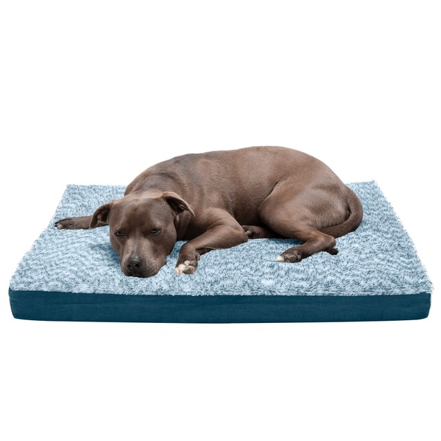 FurHaven Two-Tone Faux Fur & Suede Deluxe Orthopedic Pet Bed