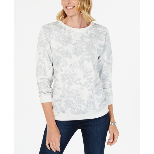Karen Scott Women's Printed Fleece Sweatshirt  White Size XX-Large