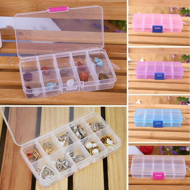 10-Compartment Craft/Parts Storage Box - 4 Colors