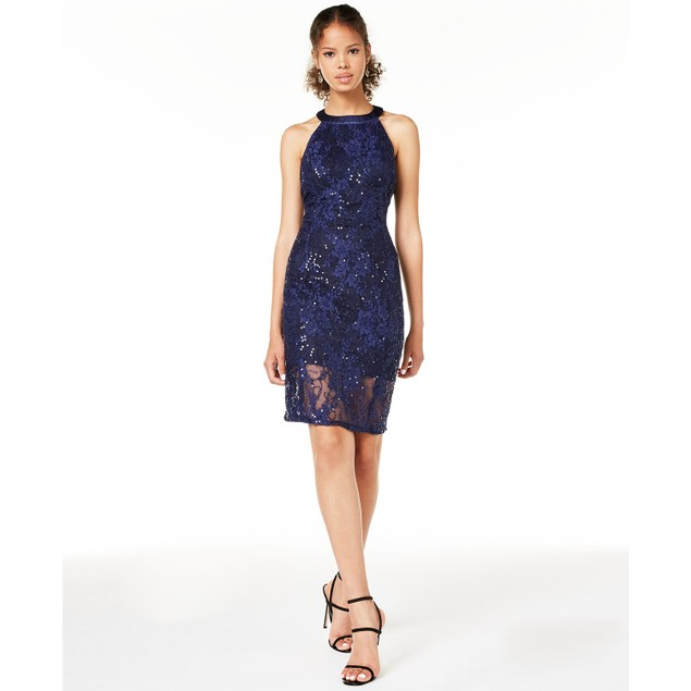 Jump Juniors' Women's Strappy Lace Bodycon Dress Navy Size 8