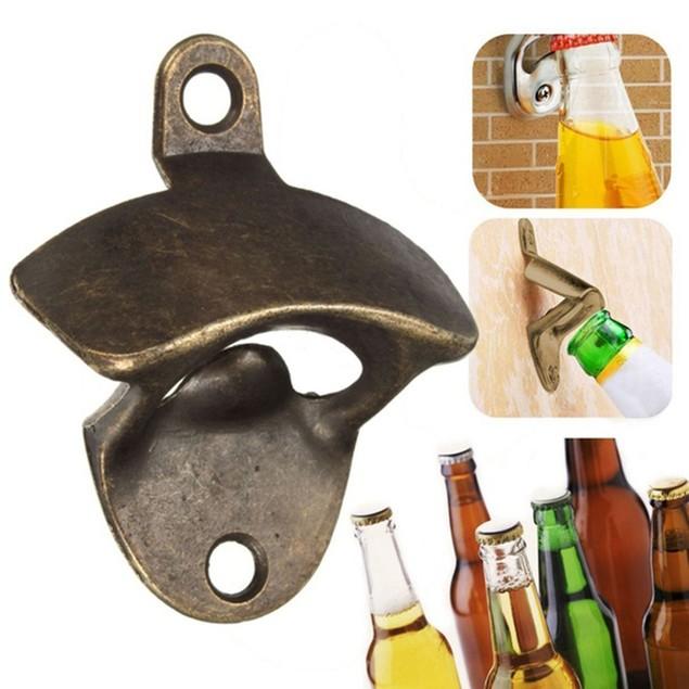 Wall Mounted Bottle Opener Hanging Beer Wine Soda Glass Kitchen Tool