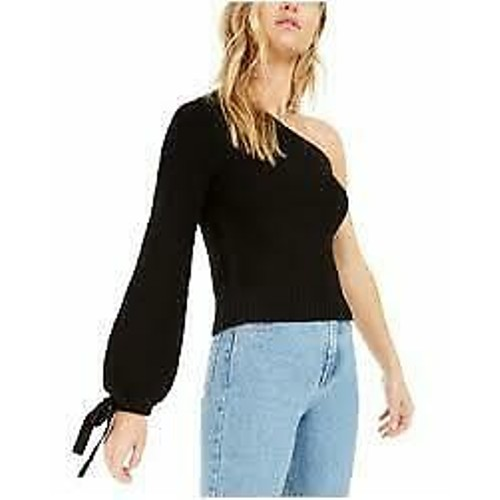 Bar III Women's One-Shoulder Volume Sleeve Sweater Black Size Medium