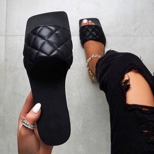 Women's Fragrant Wind Square Toe Sandals Slippers