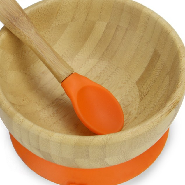 Bamboo Baby Suction Bowl and Spoon | MandW Orange