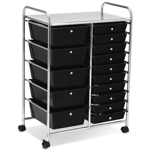 Costway 15 Drawer Rolling Organizer Cart Utility Storage Tools Scrapbook Pa