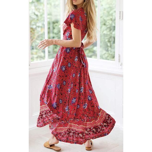 Women's Bohemian Printed Wrap Maxi Dress