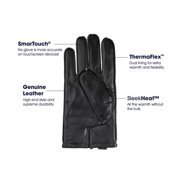 Isotoner Signature Men's Thermaflex Leather Gloves Black Size Extra Large