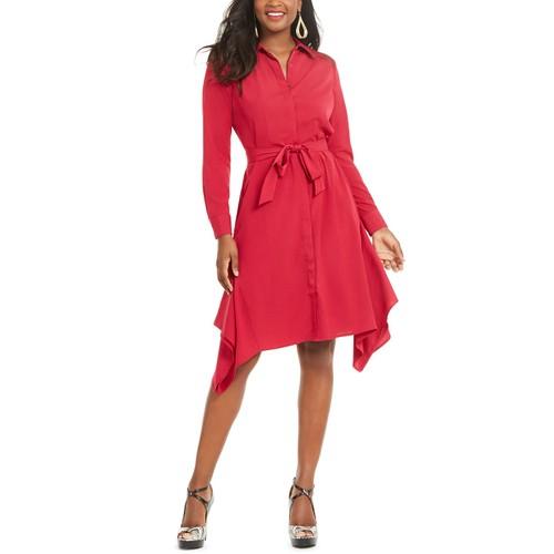 Thalia Sodi Women's Handerkerchief-Hem Shirtdress Cerise Size X-Large