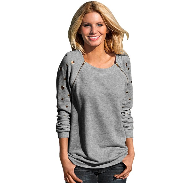 Women Zipper Long Sleeve Casual Sweatshirt T-Shirt Tops Blouse